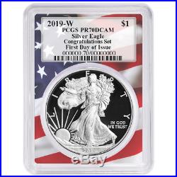 2019-W Proof $1 American Silver Eagle Congratulations Set PCGS PR70DCAM FDOI Fla