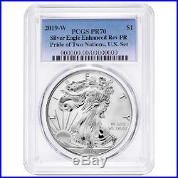 2019-W Reverse Proof $1 American Silver Eagle PCGS PR70 Blue Label Pride of Two