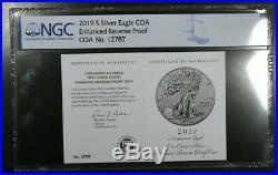 2019-s Ngc Pf69 Enhanced Reverse Proof American Silver Eagle + Box & Coa #3/3