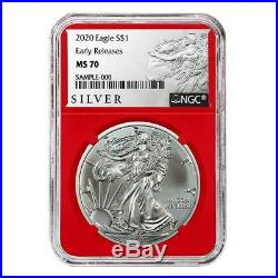2020 $1 American Silver Eagle 3pc. Set NGC MS70 FDI First Label Red White Blue