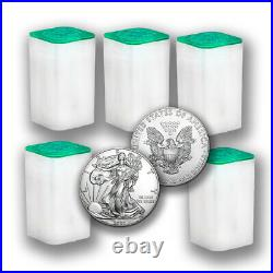 2020 1 oz American Silver Eagle Coins BU (Lot of 100) Five Mint Tubes $1 US Coin