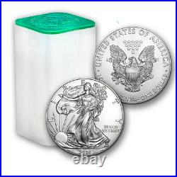 2020 1 oz American Silver Eagle Lot, Roll of 20 Twenty $1 Coins in Mint Tube
