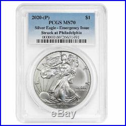 2020 (P) $1 American Silver Eagle PCGS MS70 Emergency Production Blue Label