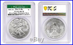 2020 (P) $1 American Silver Eagle PCGS MS70 First Strike Emergency Production