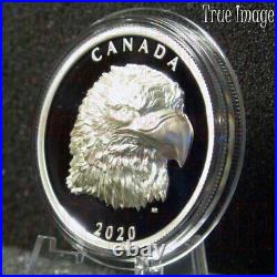 2020 Proud Bald Eagle $25 EHR Extra High Relief Proof Pure Silver Coin Canada