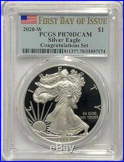 2020 W $1 Congratulations Set Pcgs Pr70 Dcam First Day Issue Silver Eagle Instok