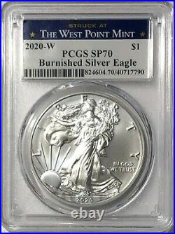 2020 W $1 Pcgs Sp70 Burnished Silver American Eagle. 999 Fine West Point Label