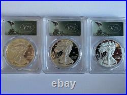2020-W $1 Silver Eagle WWII v75 Privy First Strike PCGS PR70DCAM In Hand
