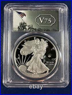 2020 W Proof $1 American Silver Eagle WWII 75th PCGS PR70DCAM FDOI V75 IN HAND