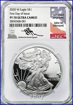 2020 W Proof Silver Eagle PF70 Ultra Cameo NGC FDOI John Mercanti