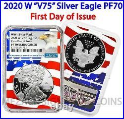 2020 W V75 Privy Mark $1 Silver Eagle NGC PF70 FDOI Flag Core End of WWII