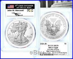 2020-p Emergency Issue Silver Eagle-pcgs Ms70-fdoi-mint Engraver-mercanti-flag