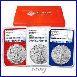 2021 $1 Type 2 American Silver Eagle 3 pc Set NGC MS70 Blue ER Label Red White B