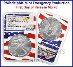2021 P Philadelphia $1 American Silver Eagle NGC MS70 Emergency FDOR Flag Core