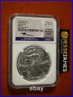 2021 Silver Eagle Ngc Ms70 Er Type 1 John Mercanti Signed Mint Engravers Series