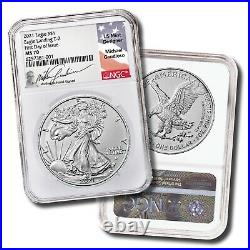 2021 Type 2 Silver Eagle NGC MS70 FDOI Signed by ASE Engraver Michael Gaudioso