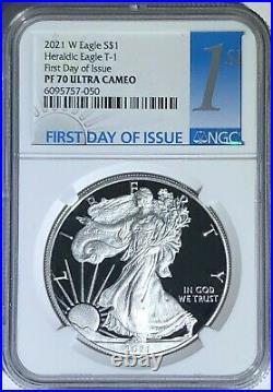 2021 W $1 Ngc Pf70 Fdi Ultra Cameo First Day Proof Silver Eagle Heraldic T-1