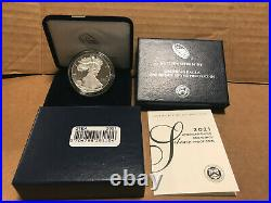 2021 W American Eagle One Ounce SILVER PROOF Coin West Point 1 Oz Box & COA 21EA