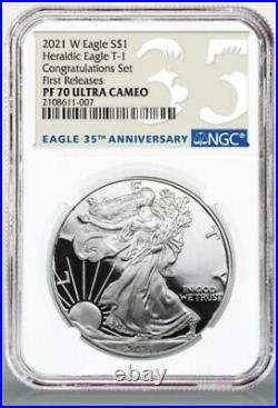 2021 W American Silver Eagle Congratulations Set NGC PF70 First Release PRESALE