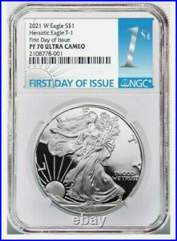 2021 W Type 1 American Silver Eagle First Day of Issue NGC PF70UCAM PR70 PRESALE