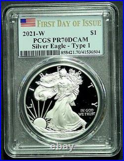 2021 W Type 1 American Silver Eagle PCGS PR70DCAM First Day Issue Last Heraldic
