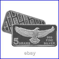 20 5 Gram 999 Fine Silver Bars Monarch Eagle Design Unc. IN STOCK