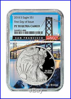 2 Coin 2018-2019S 1oz Proof Silver Eagle NGC PF70 UC FDI San Fran Core SKU58928