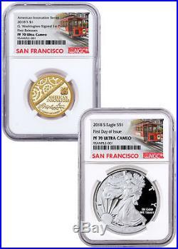2-Coin American Innovation Silver Eagle NGC PF70 FDI PF70 FR SKU56524