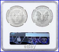 2 Coin Set 1986 & 2020 Silver Eagle NGC GEM Unc Double Coin Holder Mercanti