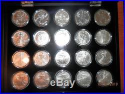 32 x AMERICAN EAGLE SILVER DOLLARS 1996-2017