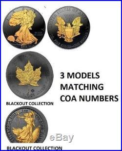 3-1 OZ Matching COA EAGLE MAPLE BRITANNIA 24K BLACKOUT COLLECTION