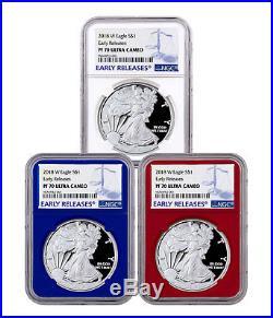 3-Coin Set 2018-W Proof American Silver Eagle NGC PF70 UC ER PRESALE SKU50608