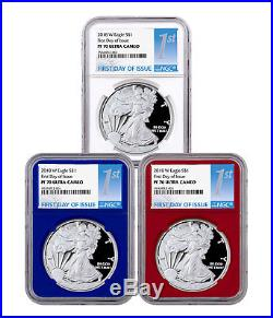 3-Coin Set 2018-W Proof American Silver Eagle RWB NGC PF70 UC FDI SKU50558