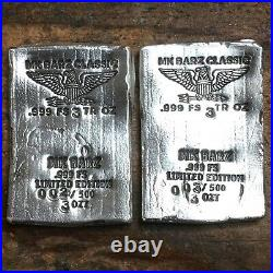 3 tr/oz MK BarZ. 999 Fine Silver Poured Classic Wafer Eagle Bar. Limited