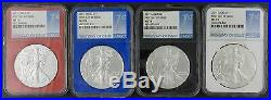 4 x 2017 Silver American Eagle MS 70 NGC First Day FDI Black Blue Red White Core