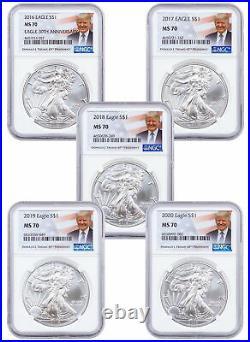 5 Piece Set 2016-2020 1 oz American Silver Eagle NGC MS70 Trump Label