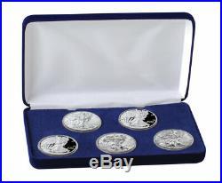 5 Piece Set 2019 $1 1 oz American Silver Eagle BU + Proof Coins in Box SKU59298
