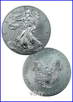 5 Rolls of 20 (100 Coins) 2016 1 Troy Oz American Silver Eagle Coin SKU38290