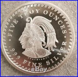5 oz. 999 Silver Aztec Calendar Stone, Eagle Warrior Emperor of Tenochtitlan NEW