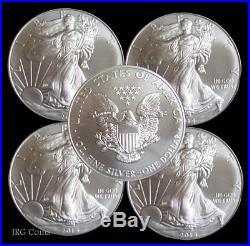 5 x 1oz Silver 2016 American Eagle Bullion Coins