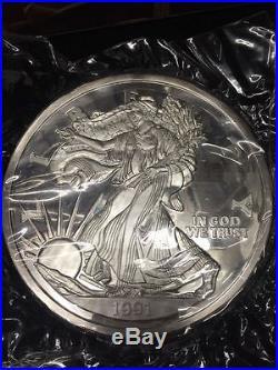 60 Troy OZ (Five POUND). 999 American Silver Eagle Coin 1991 W COA
