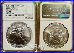A Rare Ngc Ms70 Burnished 2008 American Silver Eagle With The Reverse Of 2007