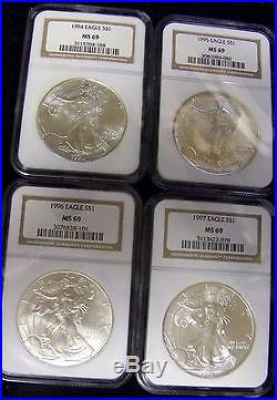 BJStamps 1986 -2005 set 20 NGC MS69 $1 Silver Eagles. 999 Brown label in box
