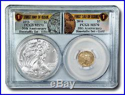 BLOWOUT! 2016 Gold and Silver American Eagles 30th Anniversary Bimetallic Col