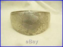 Charles Edenshaw Coin Silver Haida Bracelet with Bellamy Eagle Motif