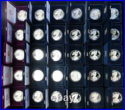 Complete 1986 -2019 American Silver Eagle 33 Proof Coins Set All Box's + Coa's