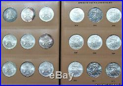 Complete 1986-2019 Silver Eagle Set In Dansco with Slipcase