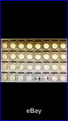 Complete Silver Eagles Date/Run signed by Mercanti, PF70DCAM, 1986-2020 &1995w