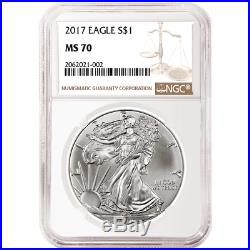 Daily Deal Lot of 10 2017 $1 American Silver Eagle NGC MS70 Brown Label