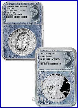 Deal! 2019 P W Apollo 11 50th Silver Eagle Set NGC PF70 FR Moon Core SKU57916